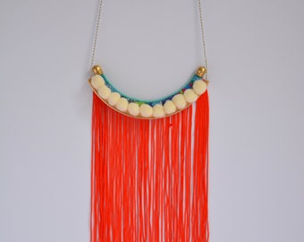 Boho necklace with red tassels