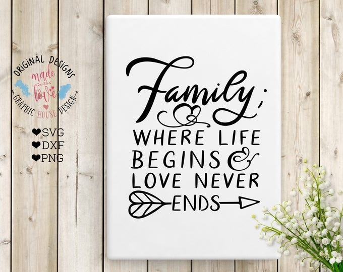 Family Cut File, Family Printable, Family Where Life Begins and Love Never Ends Cut File in SVG, DXF, PNG, Family Typography Quote, Home svg