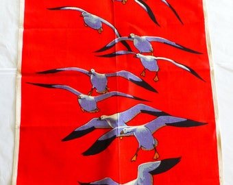 Pure 100% Irish Linen Red Vintage Tea Towel with Flying Geese Screen Print – Peter Scott - The Wildfowl Trust Slimbridge and Peakirk