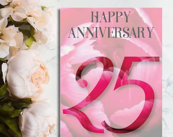 Happy 25th Anniversary Card, 25th Anniversary Card, Floral Card