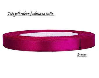 10 meters of 6 mm fuchsia satin ribbon
