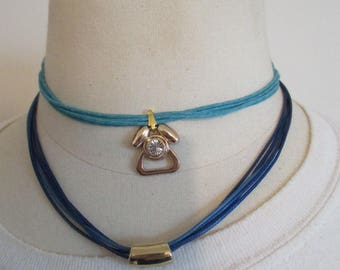 double blue cord necklace