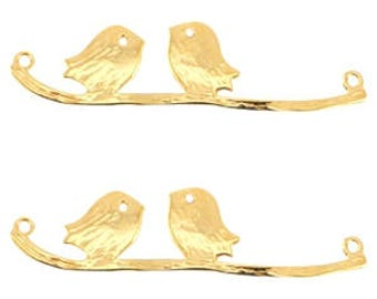 Gold pendant-2 birds on a twig-10.5 x43mm