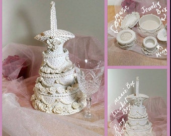 BRIDAL SHOWER CENTERPIECE Bride Keepsake Trinket Box Music Box Wedding Decor Store Display Wedding Cake Shaped 12""