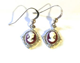 Vintage Cameo Earrings Pierced Cameo Earrings Silver and Maroon Small Cameo Earrings Cameo Jewelry Vintage Cameo Jewelry