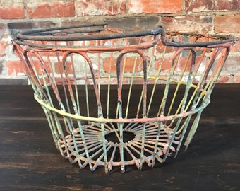 Vintage Pink and Yellow Egg Basket