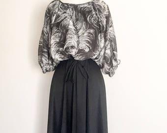 1970s Chiffon Overlay Dress Vintage