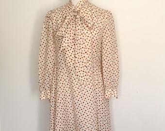 1970s Patterned Polyester Long Sleeve Dress Vintage
