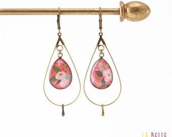 drop hoop earrings resin coral floral pattern