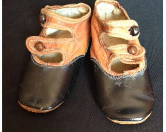 Antique Edwardian Leather Baby's Shoes With Glass Buttons