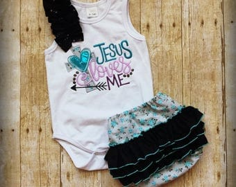 Jesus Loves Me Bodysuit & Diaper Cover
