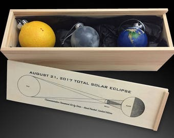 Pre-Order Sale: 2017 Solar Eclipse Ornaments Boxed Set - Limited Edition, Hand Painted
