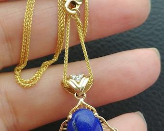 14k Gold Diamond Lapis Lazuli Necklace Chain Pendant