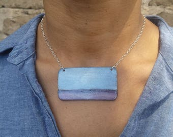 Poetry landscape art jewelry silver blue jewelry blue brown necklace sterling silver ocean necklace mountain necklace environmentalist