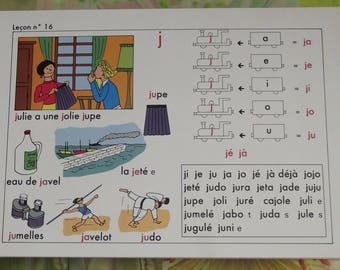 Old school poster speech edition Original French I learn to read, method of reading Andrew 1994 lesson Nightingale 16 the j.