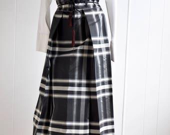 1960s Taffeta Skirt with Tartan/Plaid Print and Ruby Tassel Belt