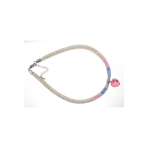wedding heart SWAROVSKI Crystal mesh collar necklace