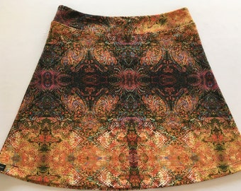 Multi Colored Mosaic Print Skirt made from  Soft Stretchy Fabric with Hidden Adjustable Tie Comfortable A-Line Cut Skims over Hips