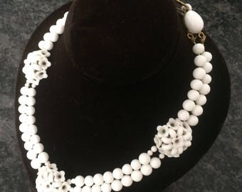 Vintage Choker, Milk-White Glass Beads, Double Strand Round and Flower-Shaped