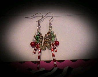 Holiday western boot earrings.