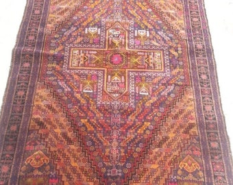 JUNE SALE 40%OFF 120 x 197 Cm Vintage Afghan Tribal Fine Nomadic Baluch Carpet
