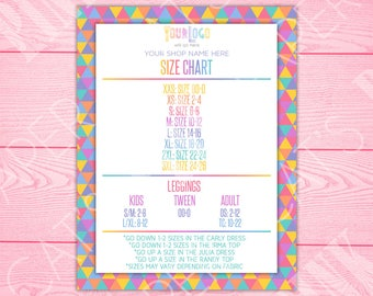 Size Chart | Rainbow Triangles | Customize