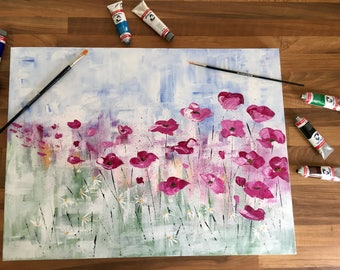 Poppies - Hand-painted Acrylic Canvas