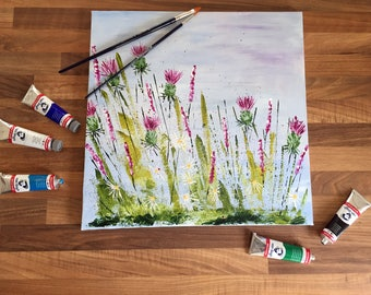 Thistle - Hand-painted Acrylic Canvas