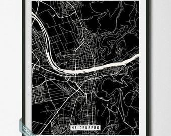 Heidelberg Print, Germany Poster, Heidelberg Poster, Heidelberg Map, Germany Print, Germany Map, Street Map, Wall Decor, Dorm Decor