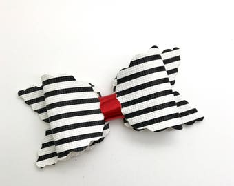 Black and White Handmade Leather Bow, Faux Leather  Bow, Baby Hair Bow, Headband Bow.