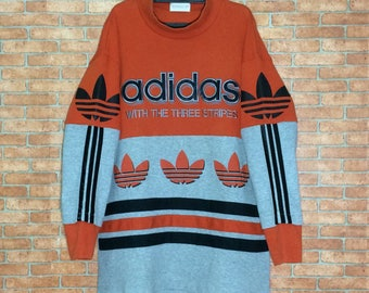 Rare!!! Vintage ADIDAS spell out Big Logo Trefoil Embroidery sweatshirt crewneck Vtg Adidas Multi Color Spell out Logo pullover Jacket