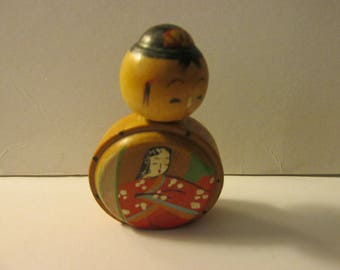 Vintage Japanese Kokeshi Doll with Lady of the Court Painting, 2""