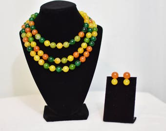 1960s Pop Bead/Snap Bead Necklace and Earring Set