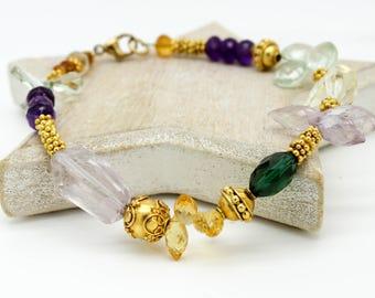 multi gem Bracelet, Rainbow gem stone Bracelet, Citrine gold bracelet, Amethyst gold Bracelet, Green quartz bracelet, Pink Amethyst Bracelet