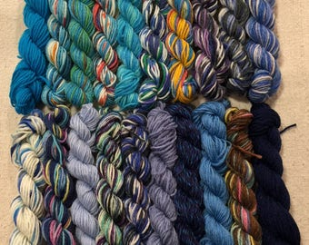 Mini Skeins with BLUE, Mini Hanks, Perfect for Brioche, Lot of 20, 25 Yards Each, 500+ Yards, No Knots, One Freebie, Quality Sock Yarns