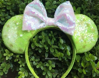 Tinkerbell Mouse Ears with choice of Light Up Sequin Bow