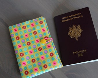 Yellow with multicolor polka dots Passport cover