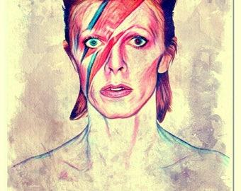 """Ziggy Stardust"" watercolor painting art print"
