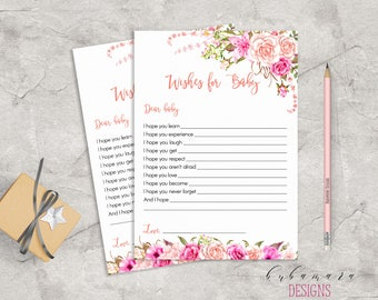 Baby Shower Wishes for Baby Game Pink Floral Baby Game Trivia Pink Roses Baby Shower Wishes Card Digital Printable Baby Activity - CG017