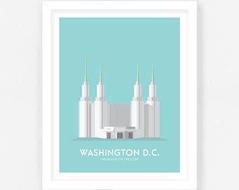 Washington DC LDS Temple Print - Teal Digital Download    Wedding Gift    Anniversary Gift    Christmas Gift
