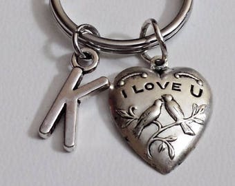 Great Design brass stamping i love u heart  personalized  initial keychain / 11Z