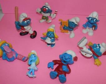 smurfs mini plastic pvc toys from 1970-1980's set of 10 papa, girl,