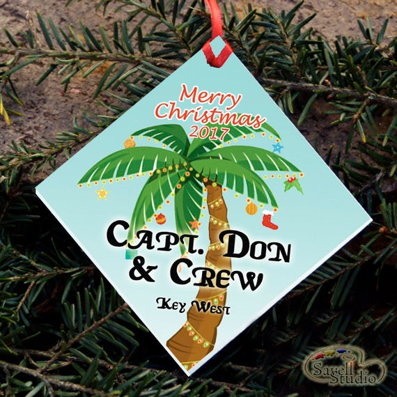 Personalized Christmas Ornament, Tropical Palm Tree, Island Christmas, Name and Year, Christmas Tree Ornament, Key West Christmas