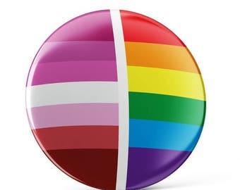 SALE-PRIDE MONTH Lesbian Pride pin button, Lesbian pin button, Lesbian pin, colorful pin badge, cool bag decoration, Lesbian decoration, gay