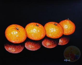 """Tangerine Painting, Citrus Painting, 11""""x14"""" Acrylic on watercolor paper, original hand painted artwork, dining room decor, kitchen wall art"""