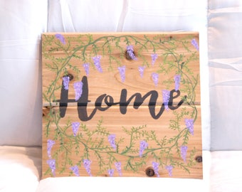 Wisteria floral / hand painted / solid wood / country home wall decor / wooden sign