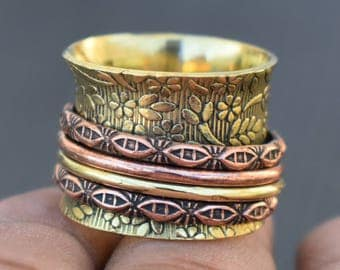 Brass Spinning Band rings | Ethnic spinner jewelry ring | Handcrafted fusion ring | Finger band rings | Birthday gift lucky ring |  R243
