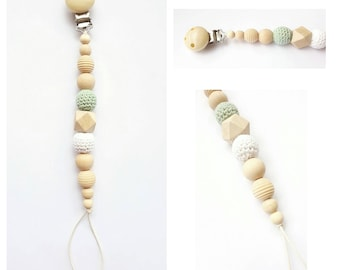 Crochet and natural wood baby pacifier beads
