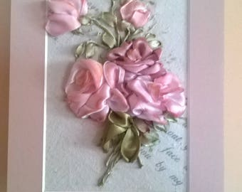 Embroidered greeting card.Vintage roses.Romantic bouquet of roses.For any occasion.Gift.
