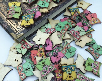 Set of 5 OWL wooden buttons